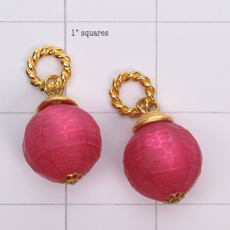Mix and Match hand carved pink  bead drop