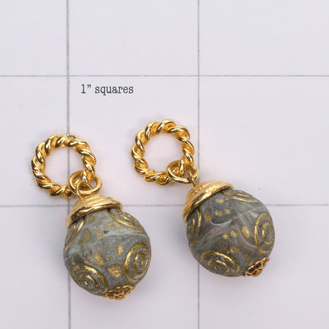 Mix and Match gold engraved stonework  bead drop