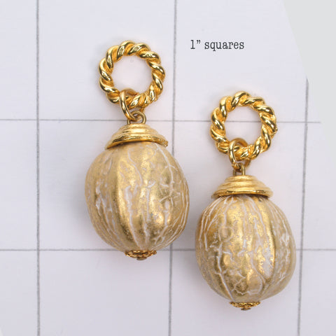 Mix and Match gold frost nut shaped drop bead