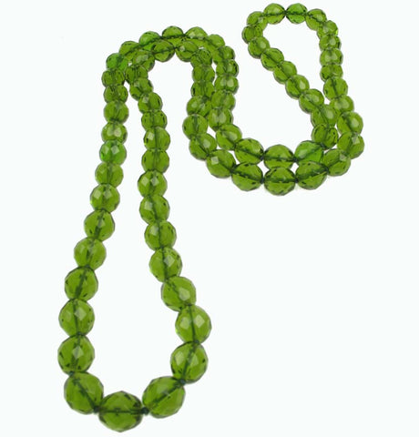 Olive green Czech glass necklace