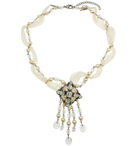 Organza  and glass pearl and crystal drop necklace