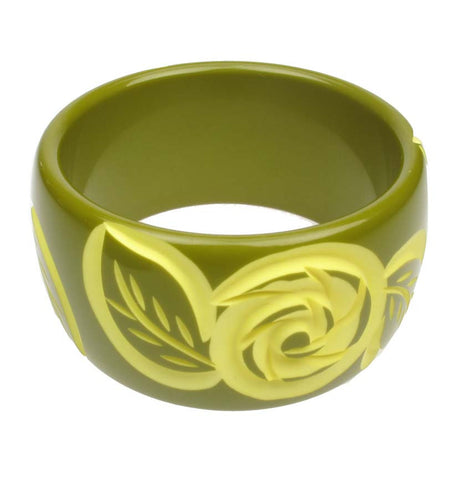 Hand Carved Olive and Jonquil bangle