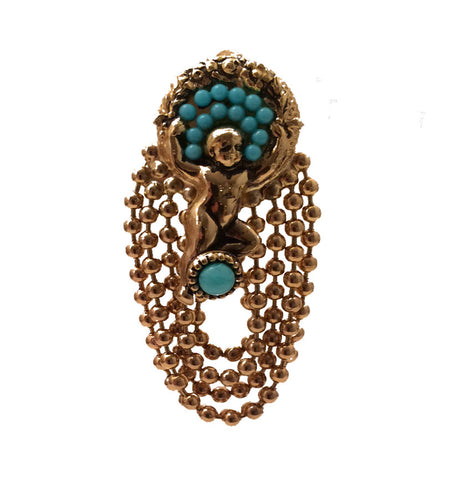 Cherub vintage clip earring with turquoise beads