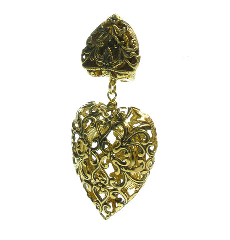 Filigree vintage French clip heart earrings