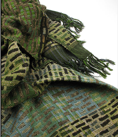Blue and olive green wool / silk scarf