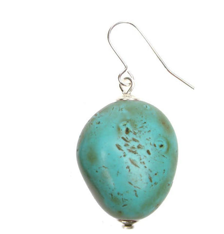 Antique turquoise coloured nugget earrings