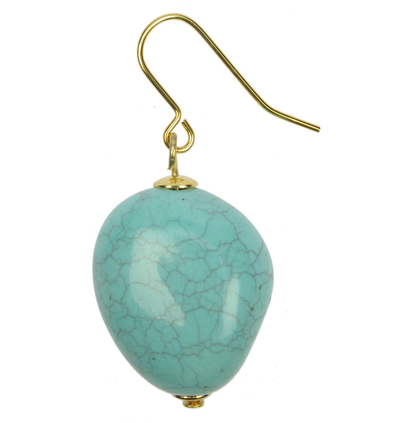 Cracked turquoise coloured nugget earrings