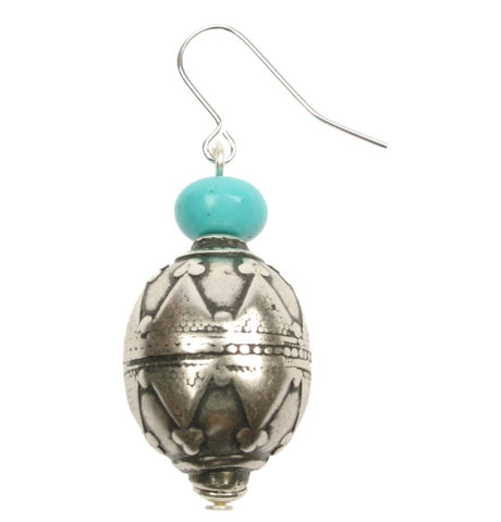 Antique silver plated decorative earrings with turquoise