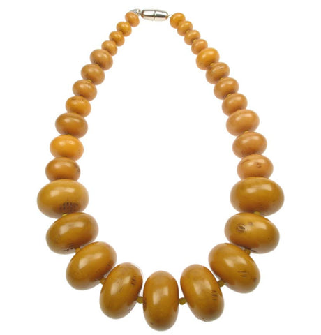 Tribal amber resin graduated necklace