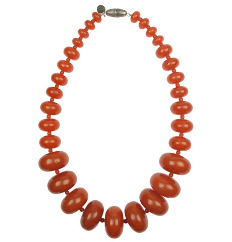 Tribal terracotta resin graduated necklace