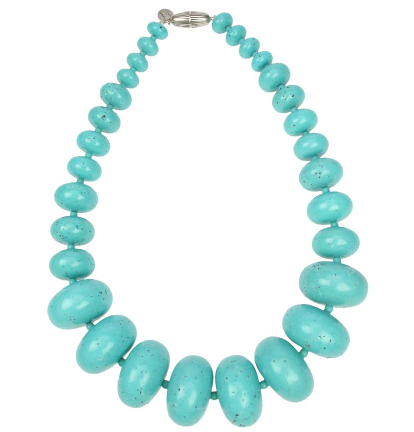 Antique turquoise tribal resin graduated necklace
