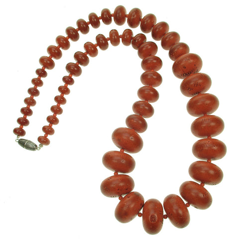 Tribal antique coral long resin graduated necklace