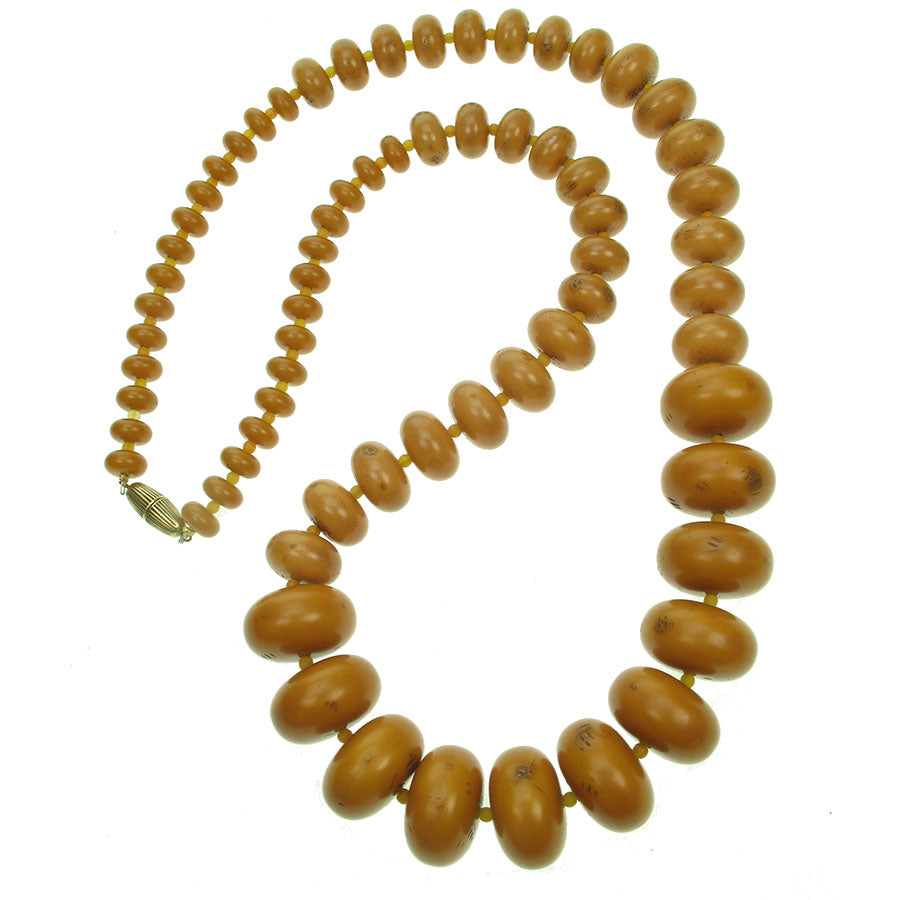 Tribal amber long resin graduated necklace