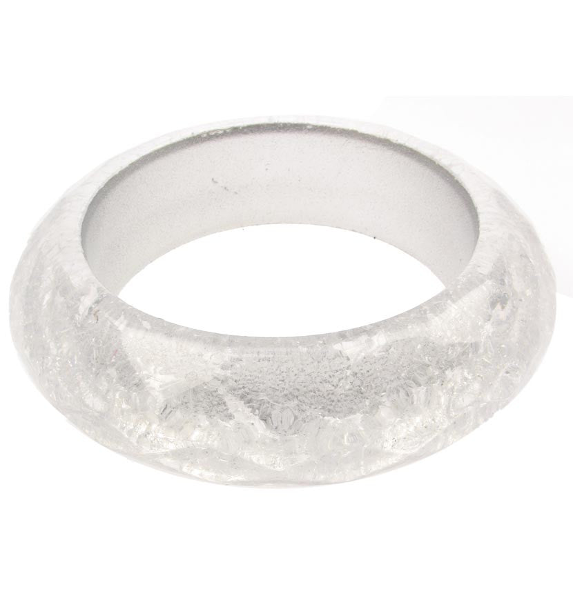 Cracked silver faceted resin bangle