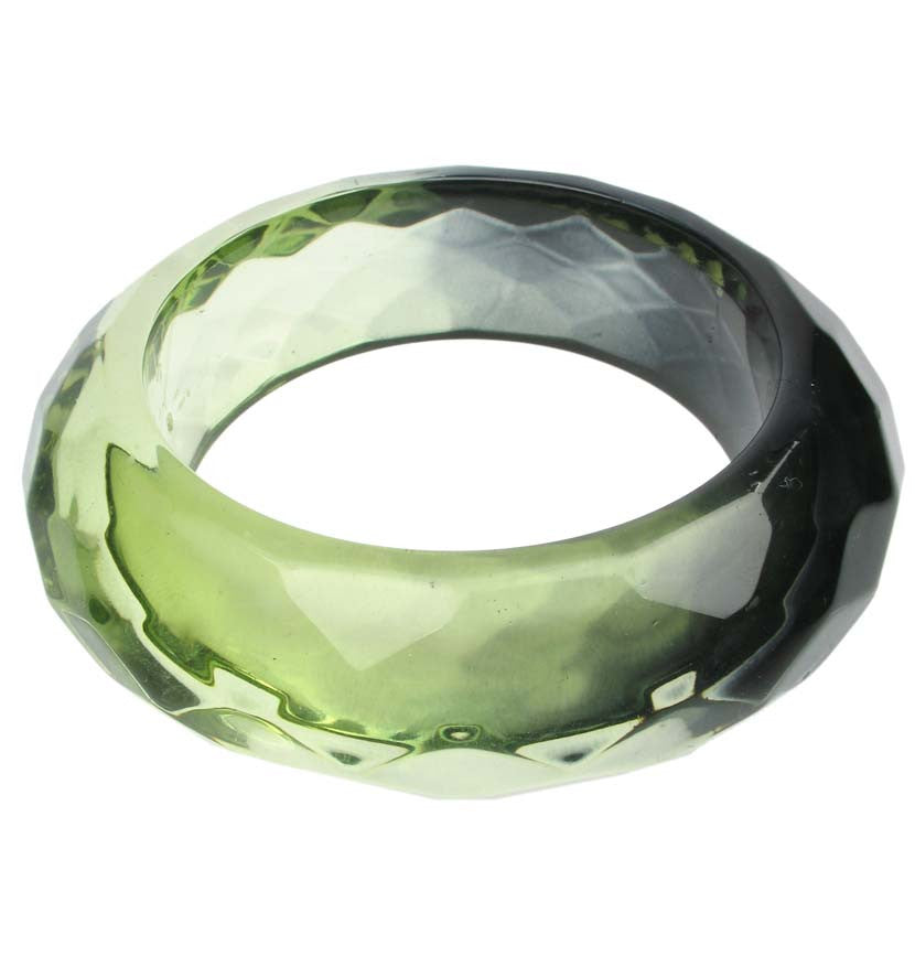 Smoked lime faceted resin bangle