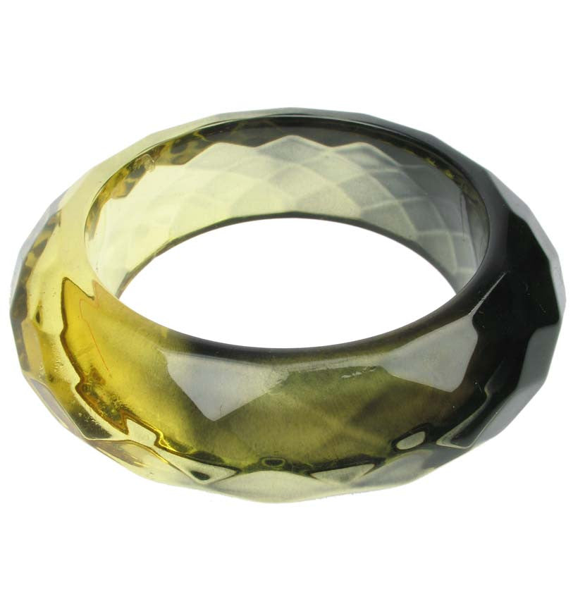 Smoked yellow faceted resin bangle