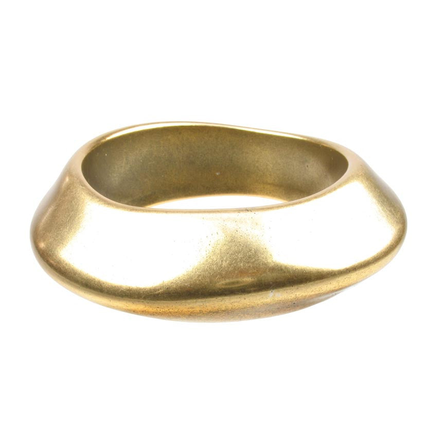 Angular antique gold plated bangle
