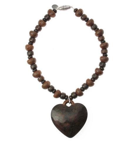 Wooden beaded necklace with heart