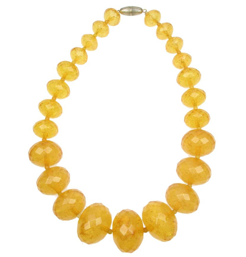 Graduated faceted honey necklace