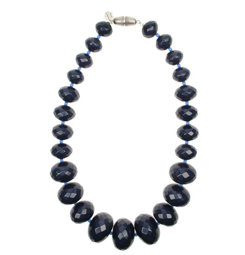 Graduated faceted navy necklace