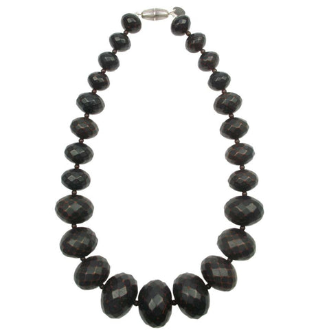 Graduated faceted red ebony colour necklace
