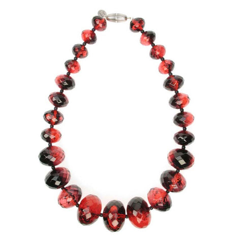 Graduated faceted smoke red necklace