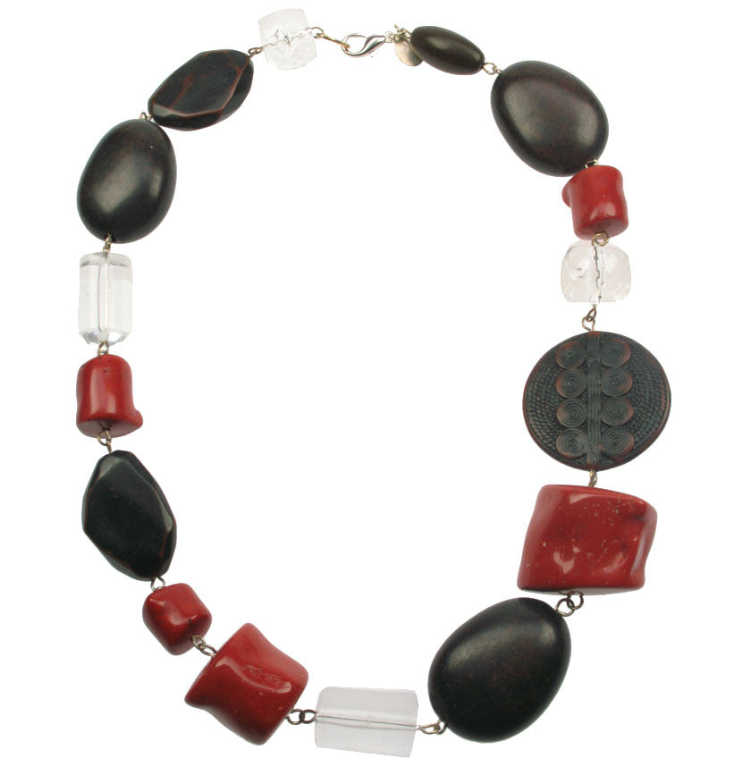 Antique coral, wood and crystal resin necklace