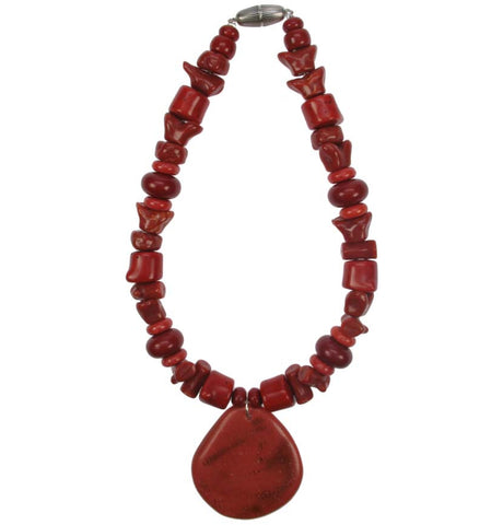 Mixed Coral bead pendant necklace