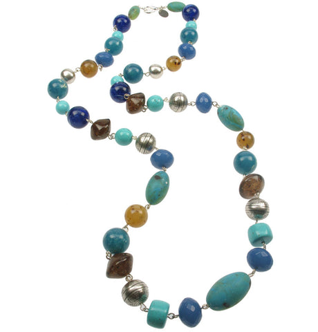 Turquoise and Silver plated multi bead necklace