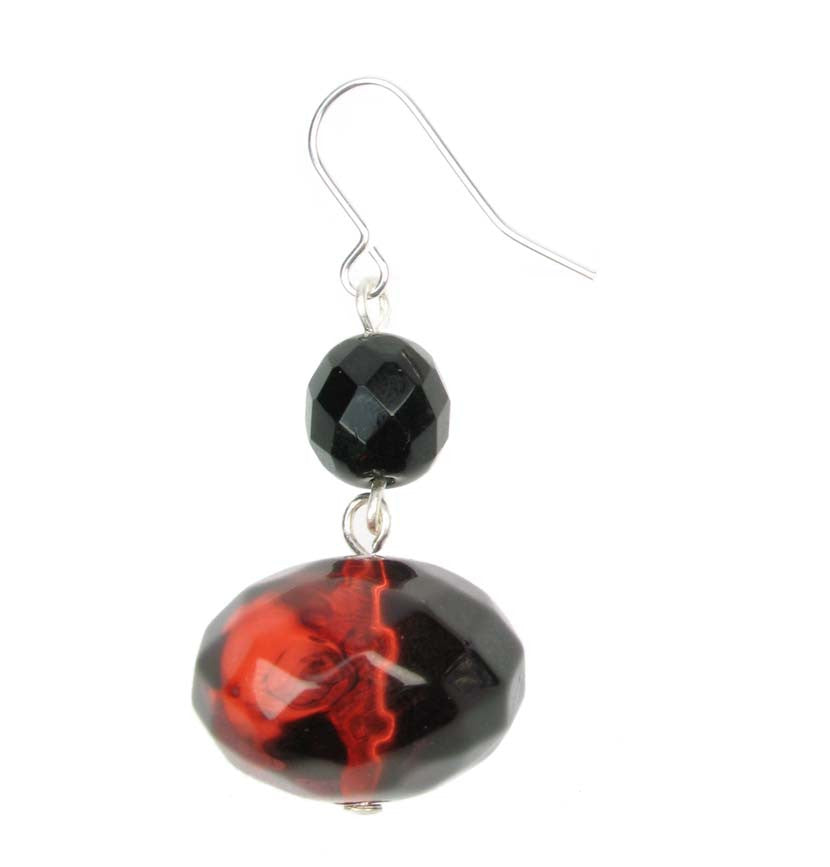 Smoked red and jet resin drop earrings
