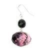 Smoked fuscia and jet coloured drop earring