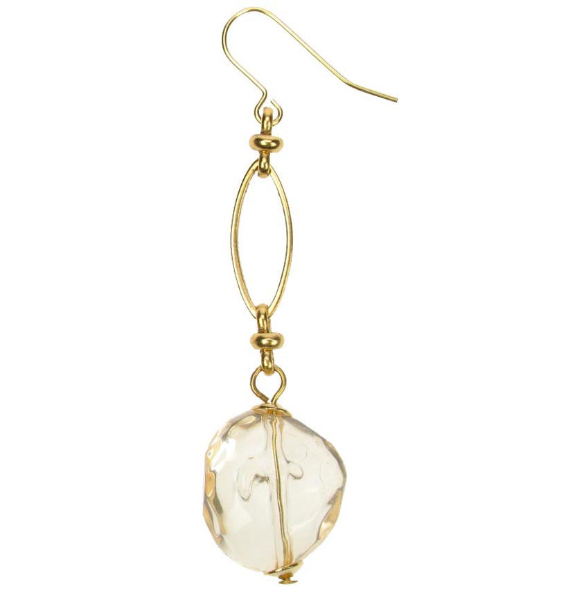 Citrine drop earrings on a gold plated chain