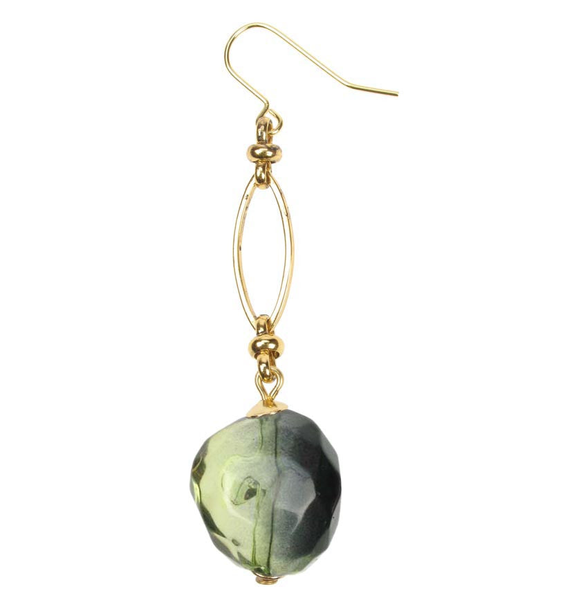 Smoked lime drop earrings on a gold plated chain