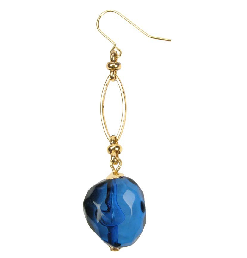 Smoked blue drop earrings on a gold plated chain