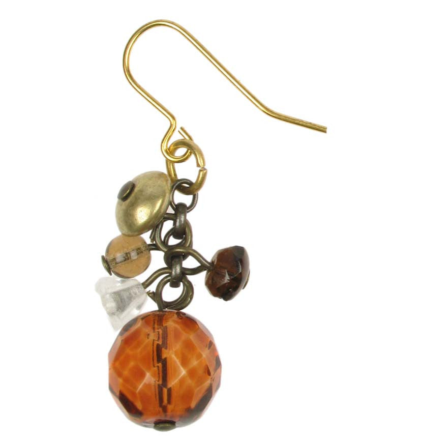 Delicate tortoise crystal and gold drop earring