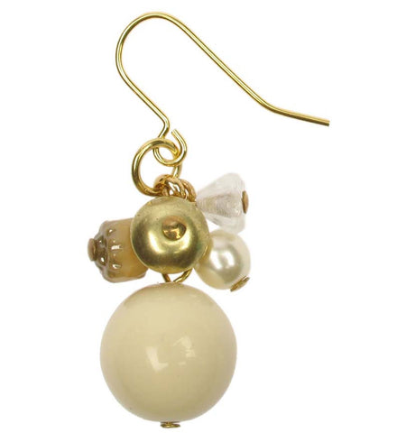 Delicate ivory crystal and gold drop earring