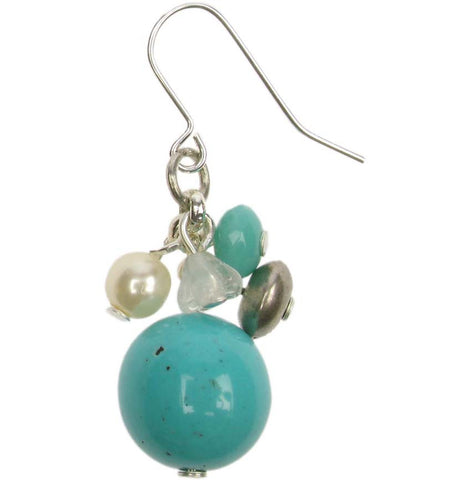 Delicate turquoise crystal and silver drop earring