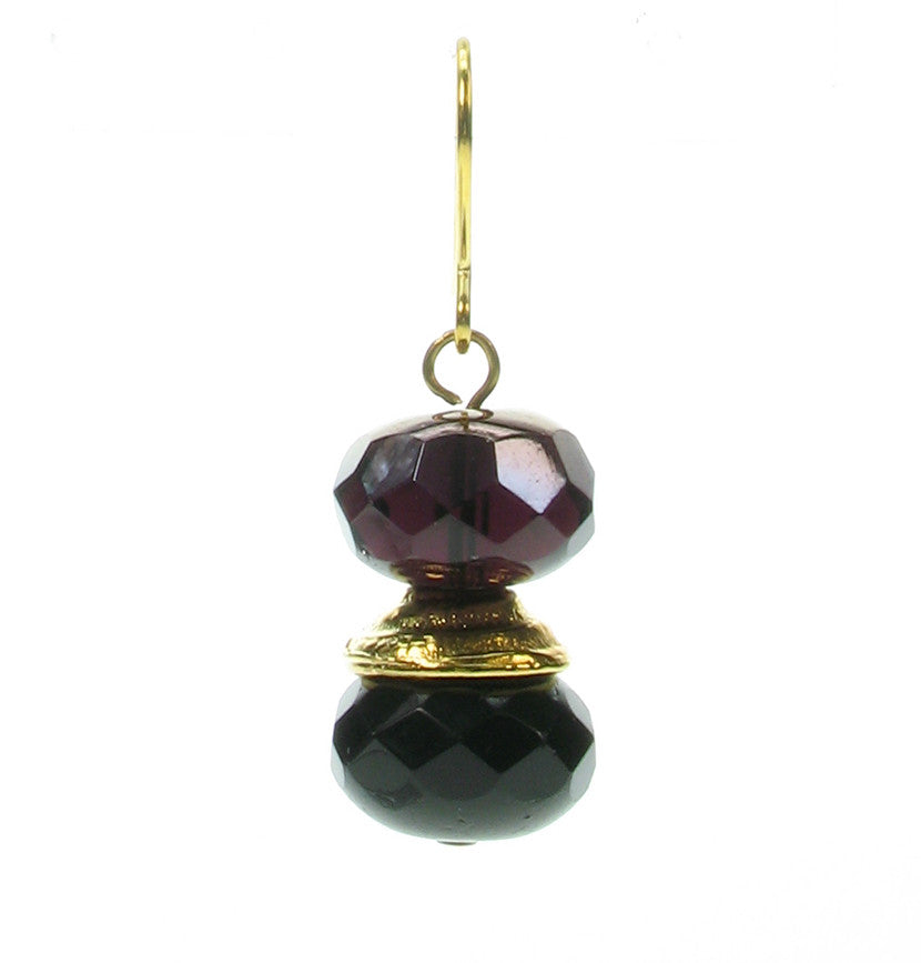 Jet gold amethyst drop earrings