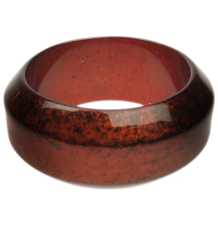 Lacquered Red Geometric Resin Bangle