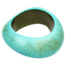 Chunky wavy antique turquoise acrylic resin bangle