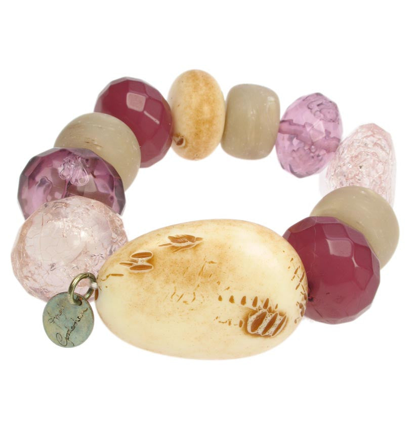 Chunky Ivory and Plum coloured stretchy bracelet