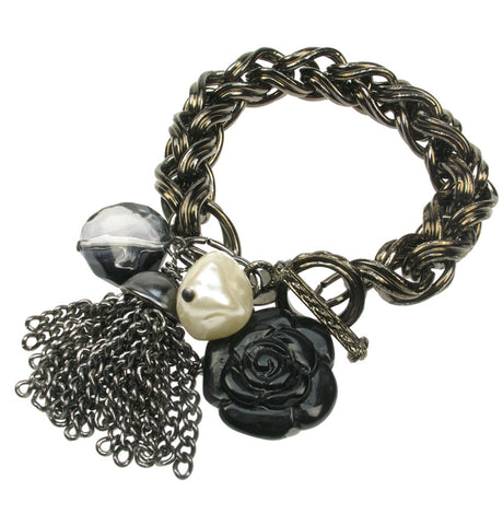 Chunky black metal plated  chain bracelet with tassel
