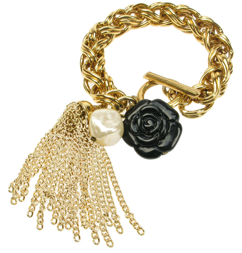 Chunky gold plated colour chain bracelet with tassel