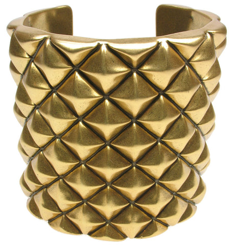 Studded cuff in antique gold colour