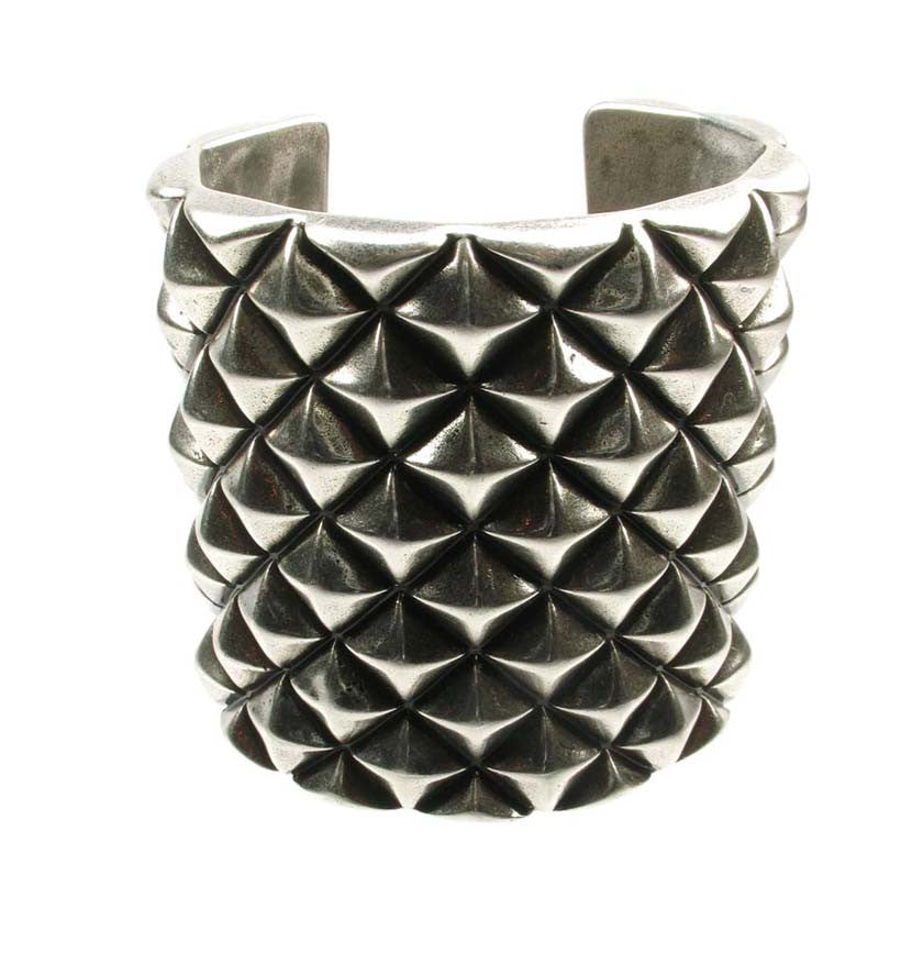 Antique silver plated studded cuff