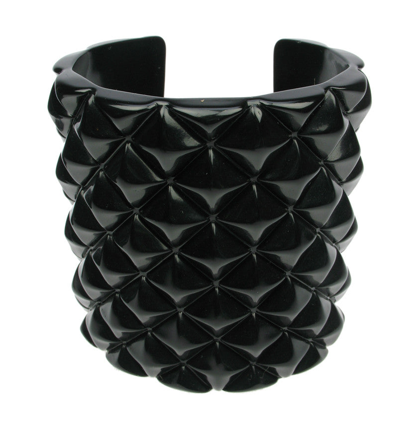 "Shiny black ""studded"" lucite acrylic cuff"