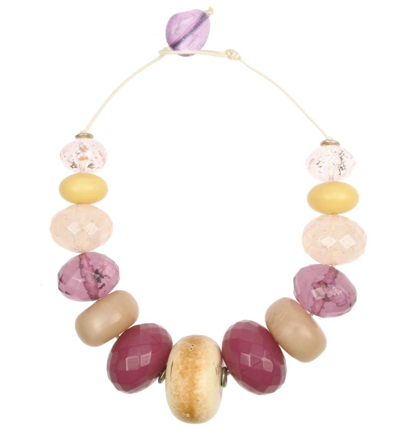 Chunky Ivory and Plum colour cord necklace