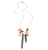 Deco pendant on Gold Plated chain with pink and ivory