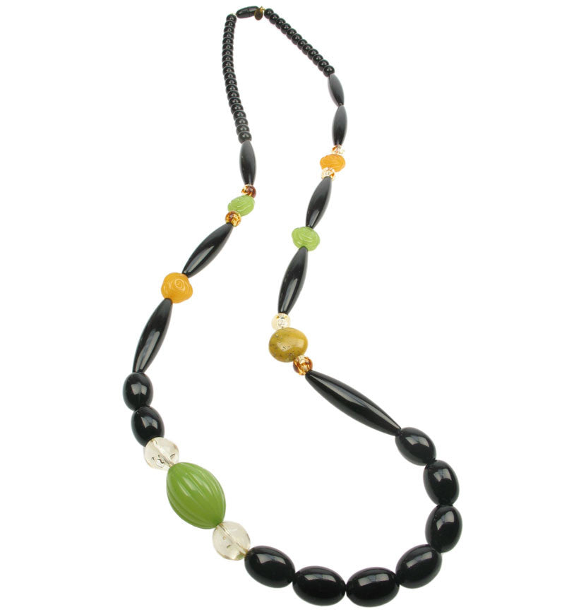 Deco black and lime green long necklace