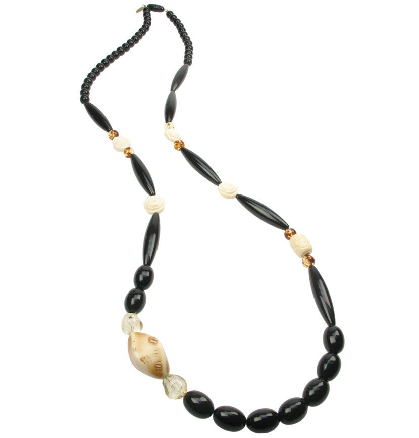 Deco black and ivory long necklace